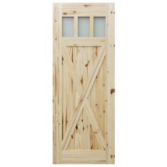 "Barn Door - 3 Lite Crossbuck - Knotty Pine - 24"" x 84"""