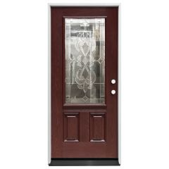 """36"""" Sangria 3/4 View Exterior Fiberglass Door - Cherry - Left Hand Inswing"""