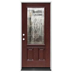 """36"""" Sangria 3/4 View Exterior Fiberglass Door - Cherry - Right Hand Inswing"""