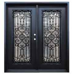 Marbella Double Wrought Iron Entry Door Left Swing 6068