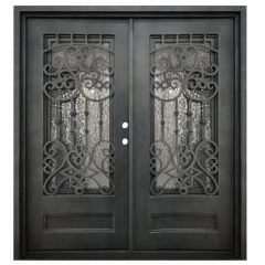 Montilla Double Wrought Iron Entry Door Left Swing 6068