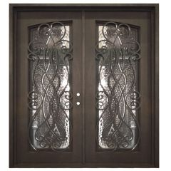 Palencia Double Wrought Iron Entry Door Left Swing 6068