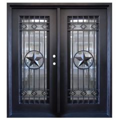 Texas Star Double Wrought Iron Entry Door Left Swing 6068