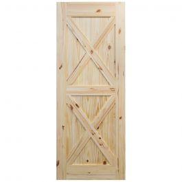 """Barn Door - Crossbuck - Knotty Pine - 24"""" x 84"""""""