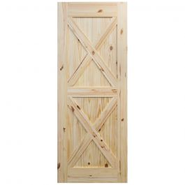 "Barn Door - Crossbuck - Knotty Pine - 42"" x 84"""