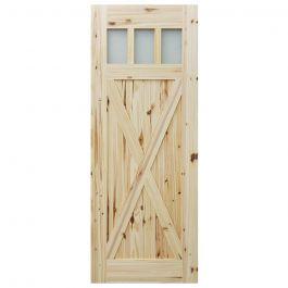 """Barn Door - 3 Lite Crossbuck - Knotty Pine - 28"""" x 84"""""""