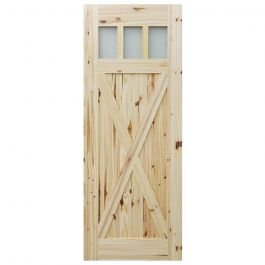 "Barn Door - 3 Lite Crossbuck - Knotty Pine - 42"" x 84"""