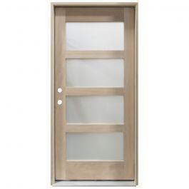 CCM100 4-Lite Mahogany Exterior Wood Door - Satin Glass - Right Hand Inswing