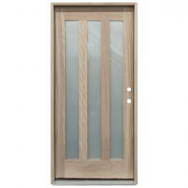 CCM300 3-Lite Mahogany Exterior Wood Door - Satin Glass - Left Hand Inswing