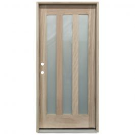 CCM300 3-Lite Mahogany Exterior Wood Door - Satin Glass - Right Hand Inswing