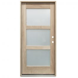 CCM400 3-Lite Mahogany Exterior Wood Door - Satin Glass - Left Hand Inswing