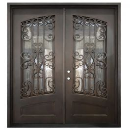 Cortez Double Wrought Iron Entry Door Right Swing 6068