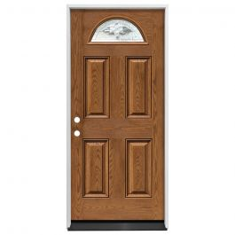 "36"" Madison 1/2 Circle Exterior Fiberglass Door - Med. Oak - Right Hand Inswing"