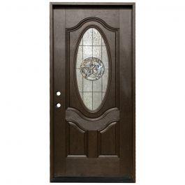 "36"" Texas Star Oval Exterior Fiberglass Door - Dark Walnut - Right Hand Inswing"