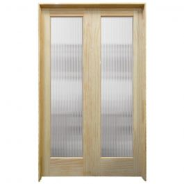 "48"" Narrow Reeded Prehung French Double Pine Doors"