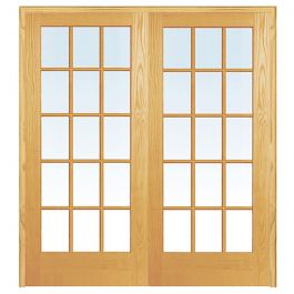 "60"" 15-Lite Prehung French Double Pine Doors"