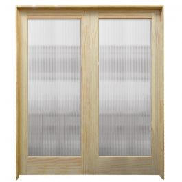 "60"" Narrow Reeded Interior Prehung French Double Pine Doors"