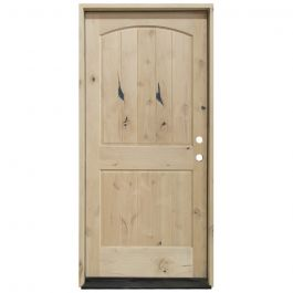KAC200 2-Panel Knotty Alder Exterior Wood Door - Eyebrow - Left Hand Inswing