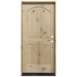 KAC300 2-Panel Knotty Alder Exterior Wood Door - Arch - Left Hand Inswing