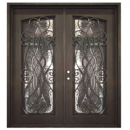 Palencia Double Wrought Iron Entry Door Right Swing 6068