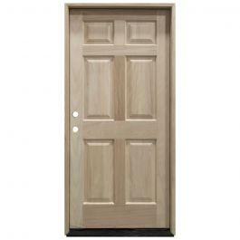TCM100 6-Panel Mahogany Exterior Wood Door - Right Hand Inswing