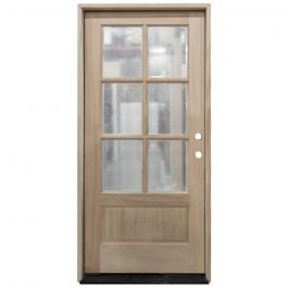 TCM200 6-Lite Mahogany Exterior Wood Door - Clear Glass - Left Hand Inswing
