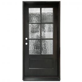 TCM200 6-Lite Exterior Wood Door - Flemish Glass - Smoke - Right Hand Inswing