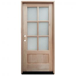 TCM200 6-Lite Mahogany Exterior Wood Door - Flemish Glass - Right Hand Inswing