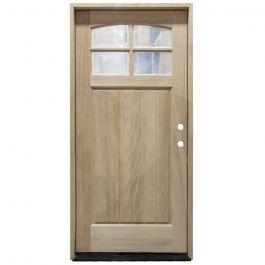 TCM400 4-Lite Mahogany Exterior Wood Door - Clear Glass - Left Hand Inswing