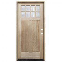 TCM500 8-Lite Mahogany Exterior Wood Door - Clear Glass - Left Hand Inswing