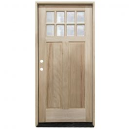 TCM500 8-Lite Mahogany Exterior Wood Door - Clear Glass - Right Hand Inswing