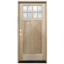 TCM500 8-Lite Mahogany Exterior Wood Door - Flemish Glass - Right Hand Inswing