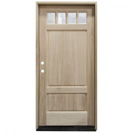 TCM600 4-Lite Mahogany Exterior Wood Door - Clear Glass - Right Hand Inswing