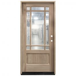 TCM700 9-Lite Mahogany Exterior Wood Door - Clear Glass - Left Hand Inswing