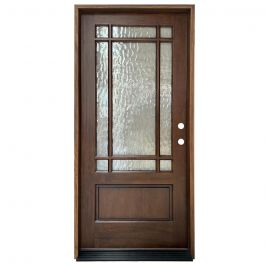 TCM700 9-Lite Exterior Wood Door - Flemish Glass - Honey - Left Hand Inswing