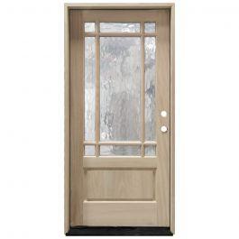 TCM700 9-Lite Mahogany Exterior Wood Door - Flemish Glass - Left Hand Inswing