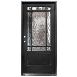 TCM700 9-Lite Exterior Wood Door - Flemish Glass - Smoke - Right Hand Inswing