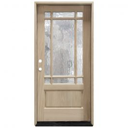 TCM700 9-Lite Mahogany Exterior Wood Door - Flemish Glass - Right Hand Inswing