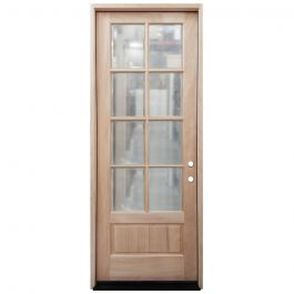 TCM8200 8-Lite Mahogany Exterior Wood Door - Clear Glass - Left Hand Inswing