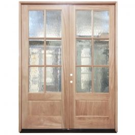 TCM8210 6-Lite Flemish Glass Double Exterior Wood Door - Right Hand Inswing