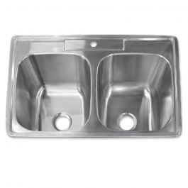 "Drop-In Stainless Steel 50/50 Sink - 9"" Depth"