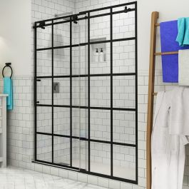 "Vienne 56-60"" Frameless French Style Sliding Shower Door - Matte Black - Left"