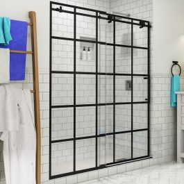 "Vienne 56-60"" Frameless French Style Sliding Shower Door - Matte Black - Right"