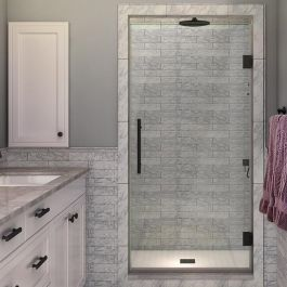 "SDR997 Kinkade 34"" Frameless Hinged Shower Door - Oil Rubbed Bronze"