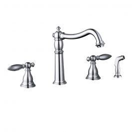 YP68WSKF Two Handle Kitchen Faucet with Sprayer - Polished Chrome
