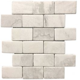 "Tumbled Marble 2"" x 4"" Subway Pattern Mosaic Tile"