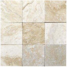"Classic Torreon 4"" x 4"" Filled & Honed Travertine Mosaic Tile"