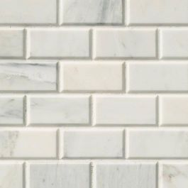"Arabescato Carrara 3"" x 6"" Honed Marble Subway Tile"