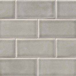 "Dove Gray Glazed Handcrafted 3"" x 6"" Subway Pattern Mosaic Tile"