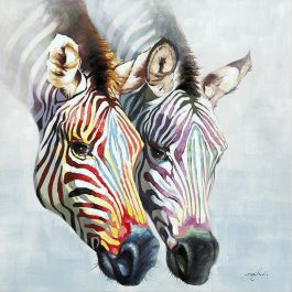 Zebras in Color Acrylic Painting